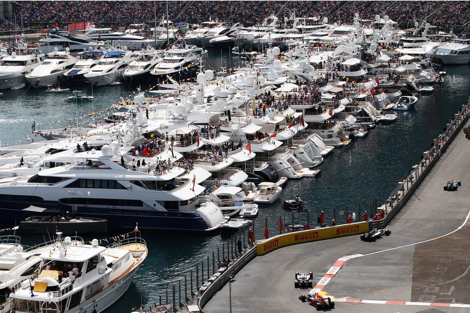 Yachts offer the best seats in the ″house″ to watch the Monaco GP.