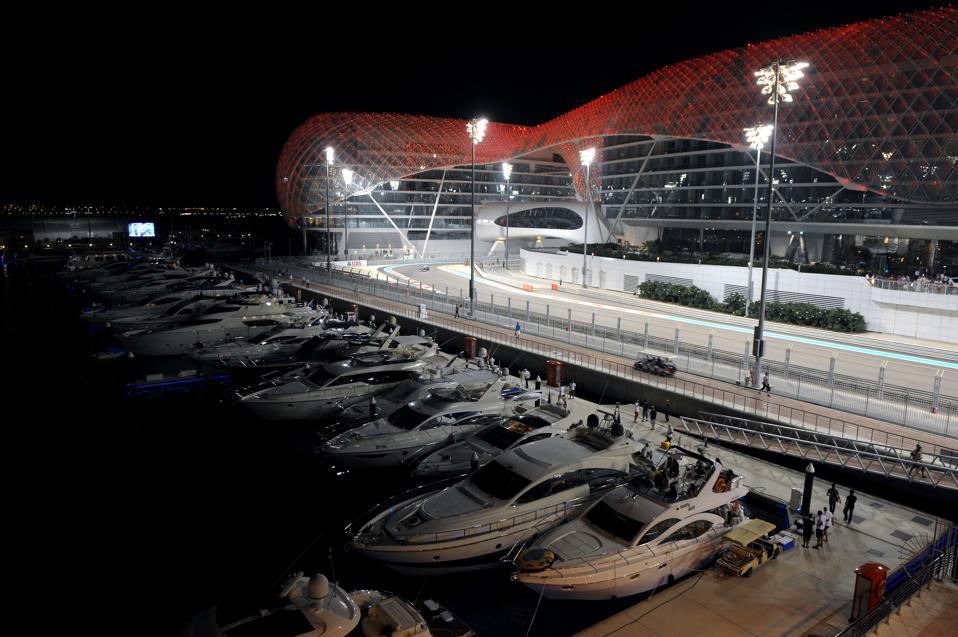 The Yas Marina Formula 1 circuit in Abu Dhabi lights up the night