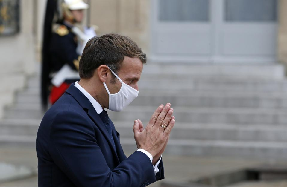 French President Emmanuel Macron at the Elysée Palace on October 28, 2020 before his address to the nation at 8pm