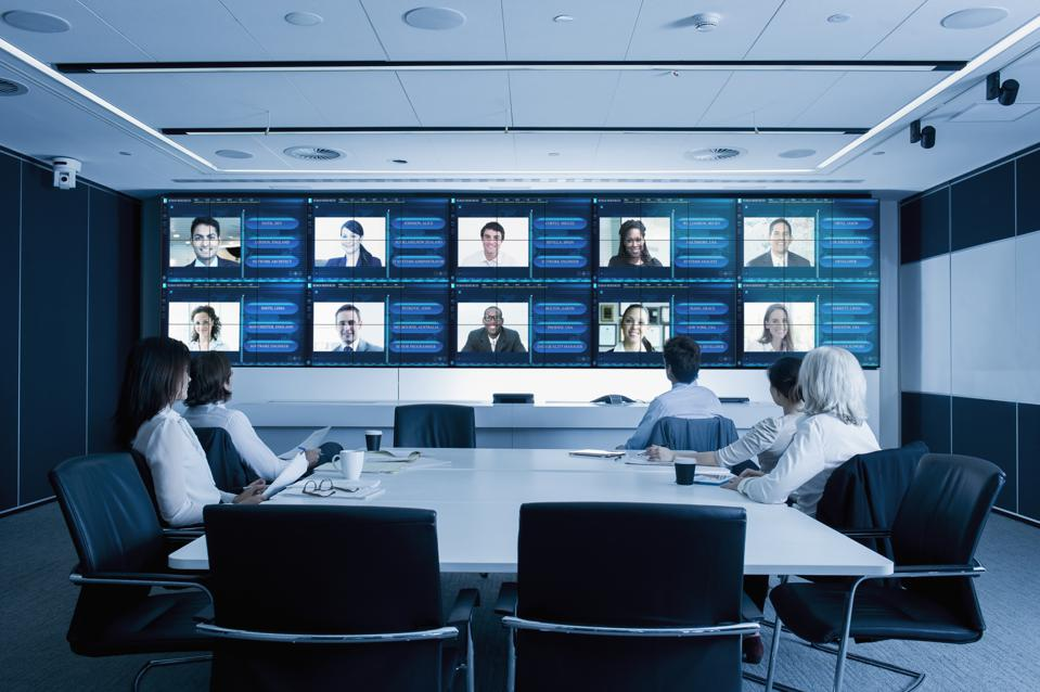 Video conference in modern conference room