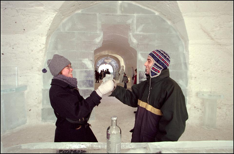 Ice Hotel In Quebec In January 2001 In Quebec, Canada.
