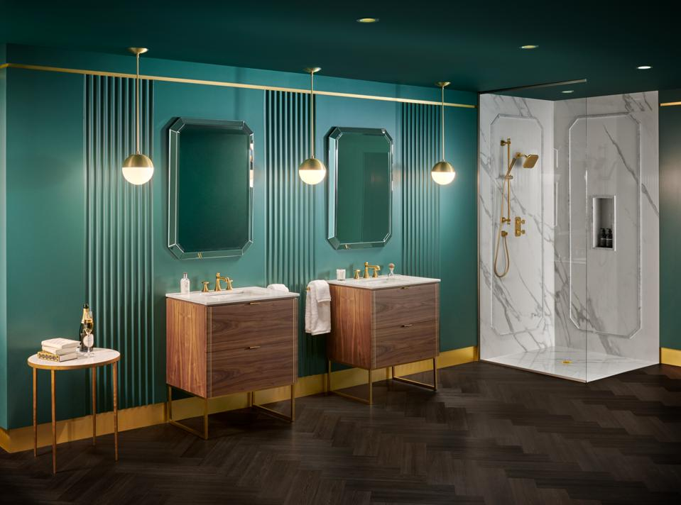 A bathroom with two walnut faucets and Art Deco-style fixtures.