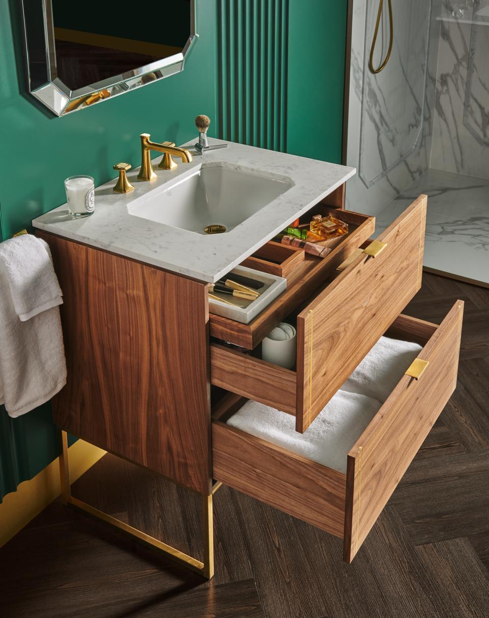 A walnut sink with lots of storage.
