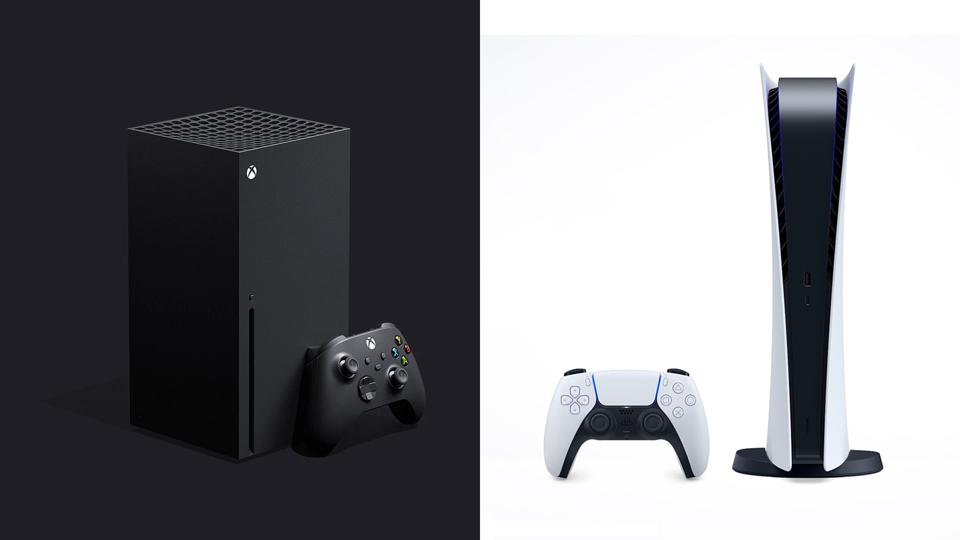 The Xbox Series X and PlayStation 5, side by side.