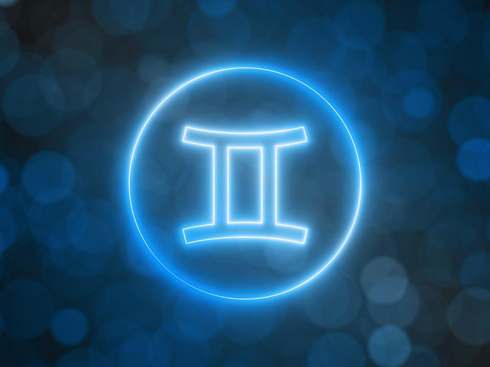 glowing neon sign of Gemini with blurred bokeh background. 3d illustration