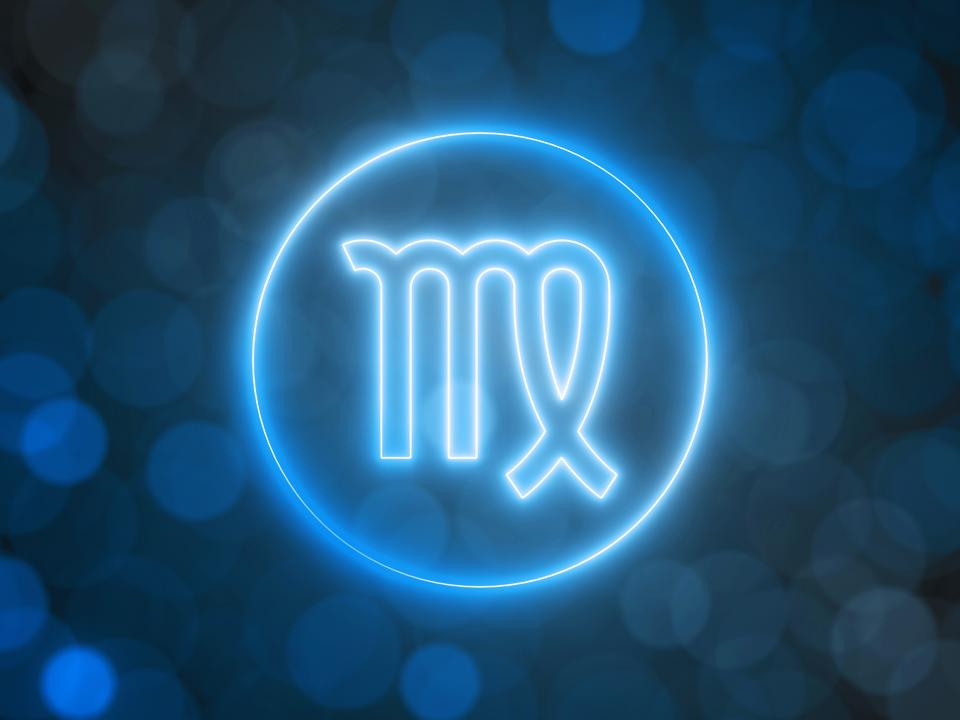 glowing neon sign of Virgo with blurred bokeh background. 3d illustration