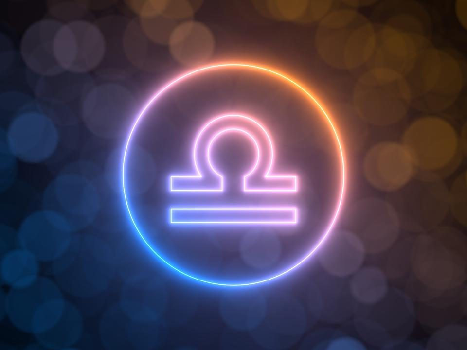 glowing neon sign of Libra with blurred bokeh background. 3d illustration