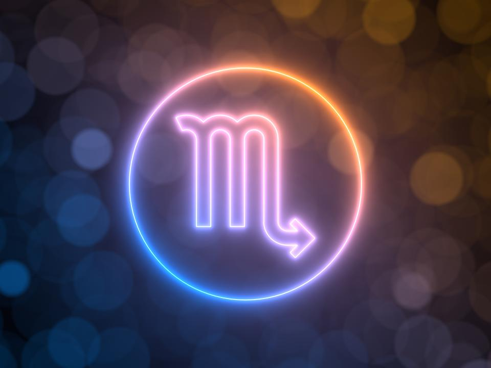 glowing neon sign of Scorpio with blurred bokeh background. 3d illustration