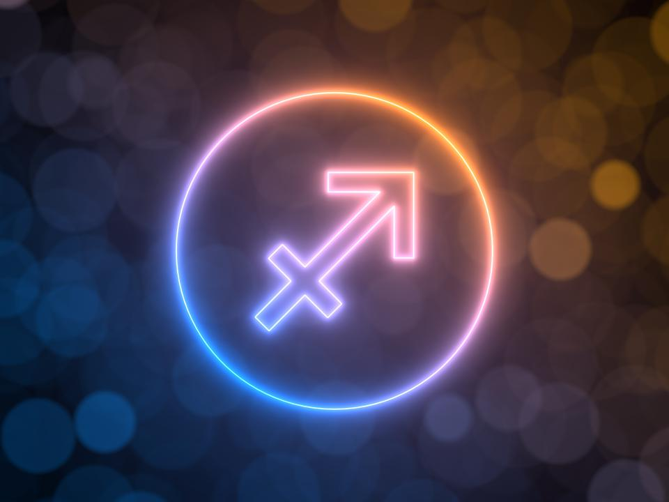 glowing neon sign of Sagittarius with blurred bokeh background. 3d illustration