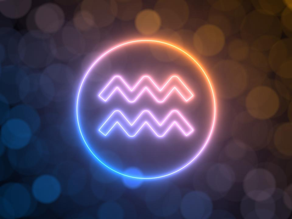 glowing neon sign of Aquarius with blurred bokeh background. 3d illustration