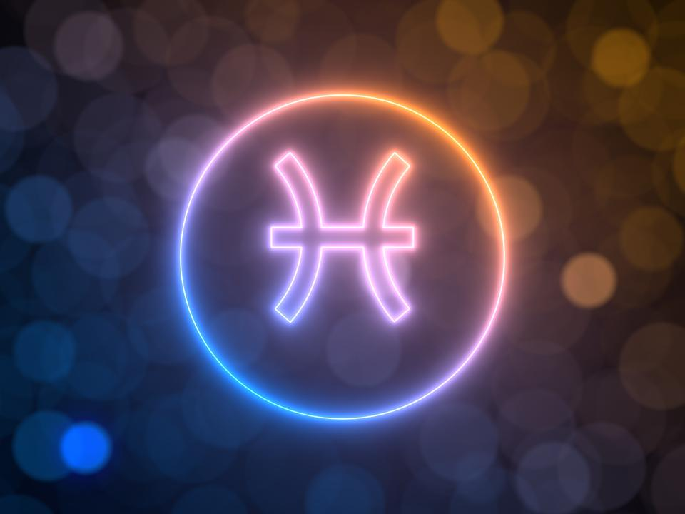 glowing neon sign of Pisces with blurred bokeh background. 3d illustration