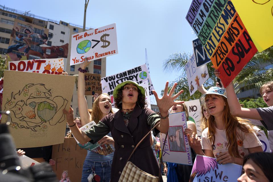 Protesters are seen during a climate change demonstration...
