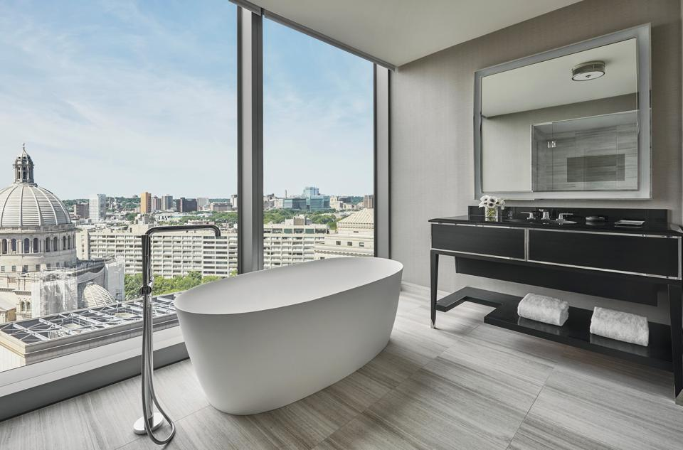 soaking tub in front of window in Boston