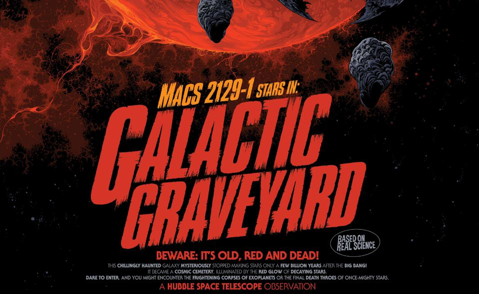 Vintage style movie poster with text ″MACS 2129-1 stars in Galatic Graveyard.″