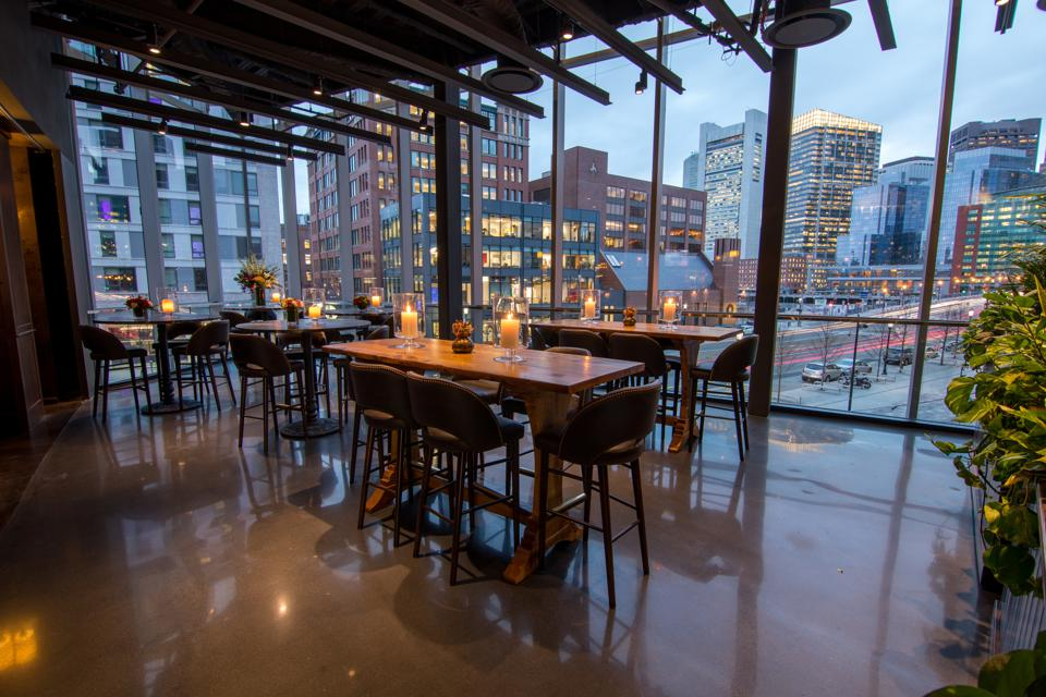 restaurant tables with floor-to-ceiling windows in Boston