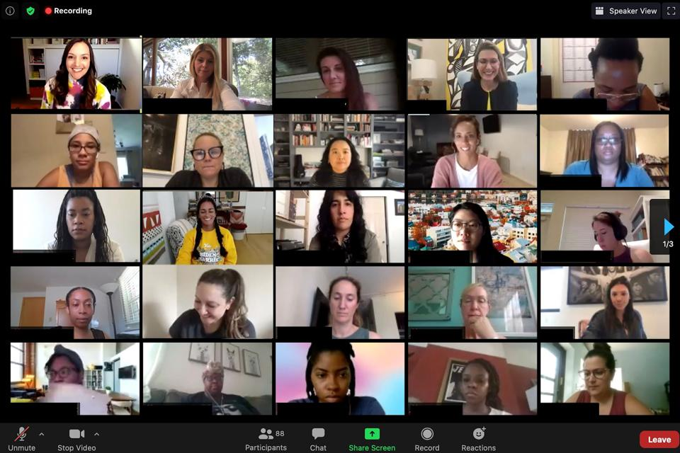Women on a Zoom screen