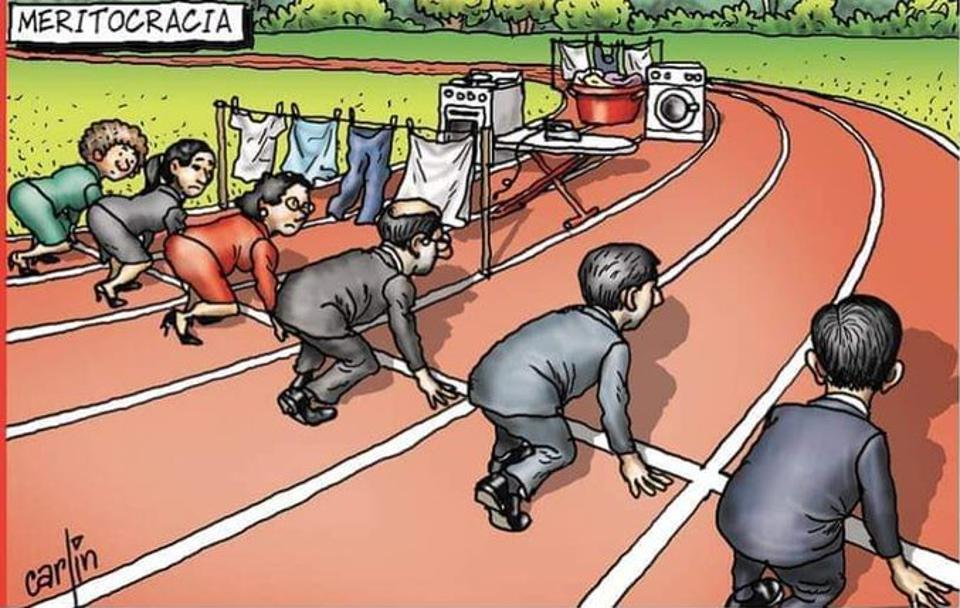 women face housework hurdles vis-a-vis men with a clear pathway on a racetrack
