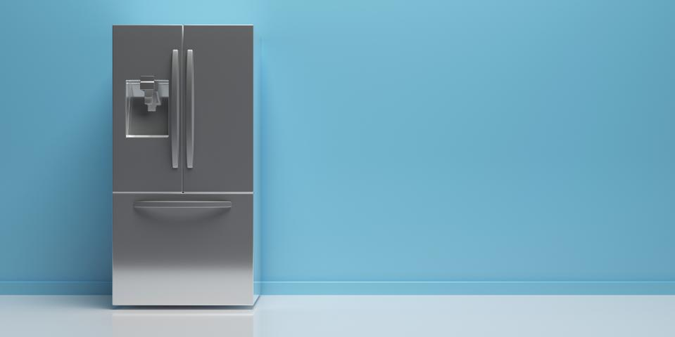Refrigerator side by side on kitchen floor, blue wall background, copy space. 3d illustration