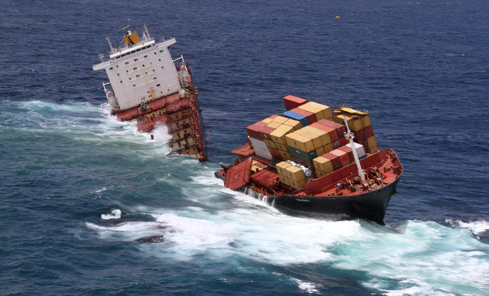 Jan 2012: the giant container ship, the MV Rena splits in two off the coast of New Zealand, causing the worst oil spill and shipping pollution event in New Zealand's history