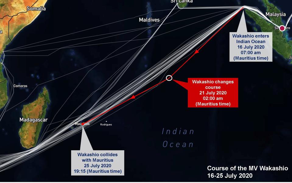 The Wakashio was off course from the moment it entered the Indian Ocean. The 13 degree turn four days before it collided with Mauritius proved to be the fateful choice.