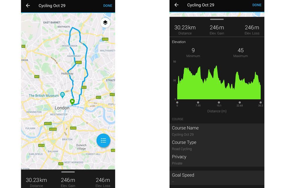 Screenshots from the Garmin Connect app.