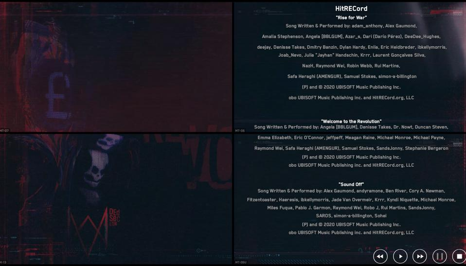 The credits of three of the Hitrecord songs used in Watch Dogs Legion.