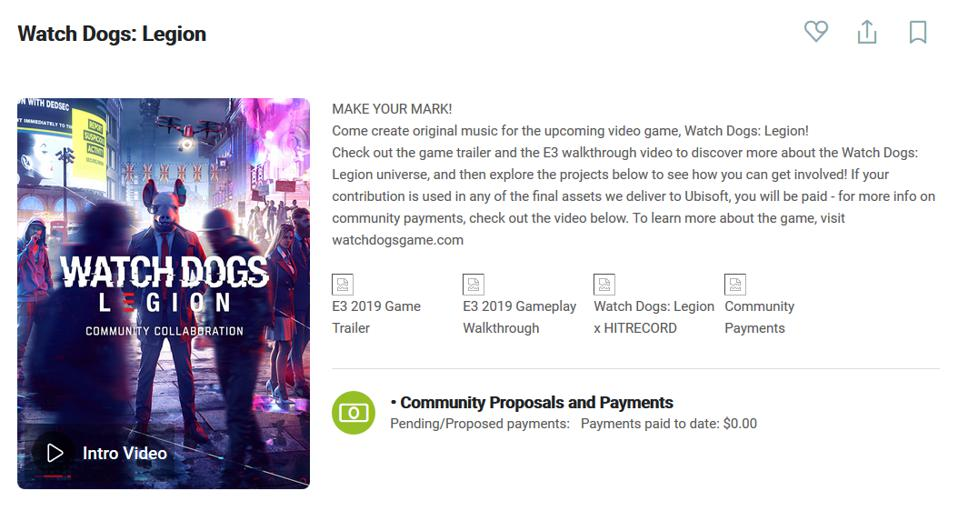 The Watch Dogs Legion project page, which shows how modest the contributing artists are.