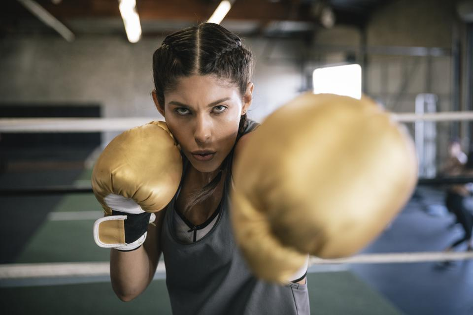 Female boxer sparring