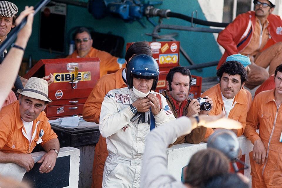 Steve McQueen on the set of ″Le Mans″ wearing the Heuer Monaco watch