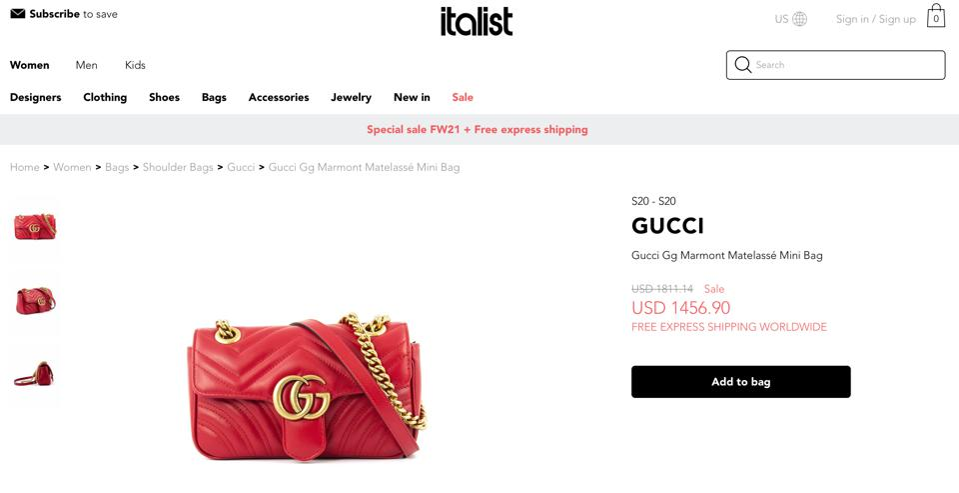 Screenshot of an item on Italist.com