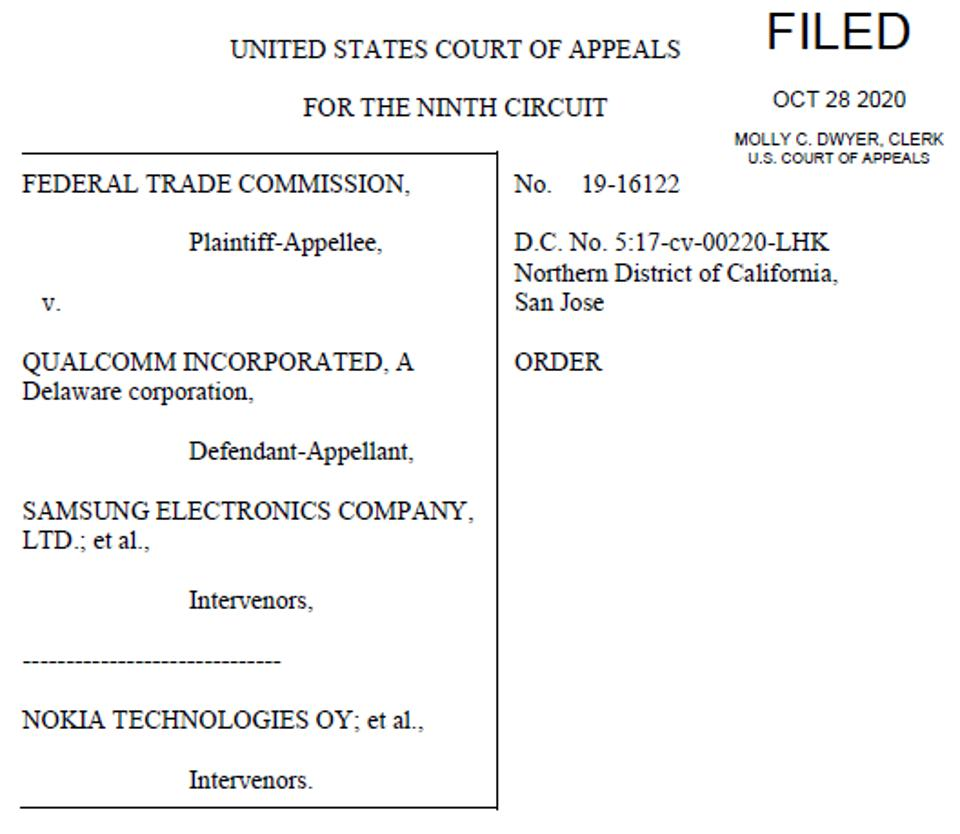 One of two pages from the 9th Circ CoA FTC rejection