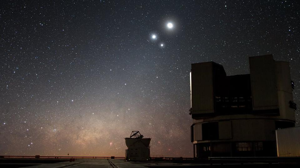 Could the 'Star of Bethlehem' have been a 'triple conjunction?' Venus and Jupiter along with the Moon over ESO's Very Large Telescope (VLT) observatory at Paranal, Chile.