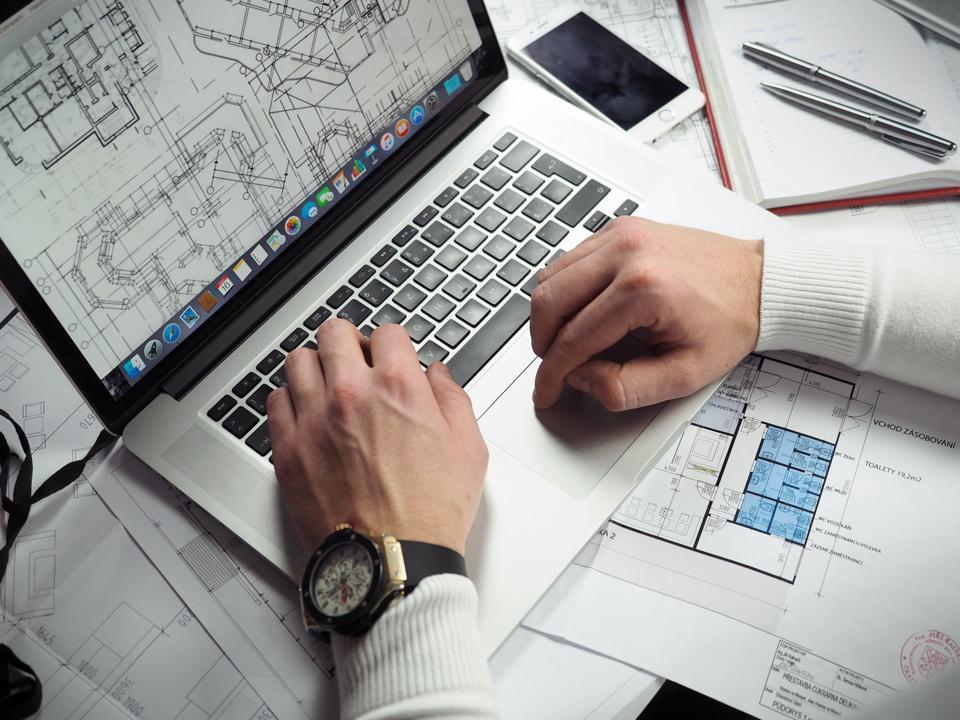Computer screen featuring blueprint