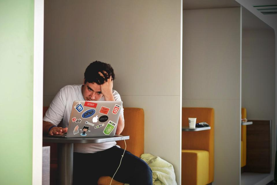 Man laptop stressed