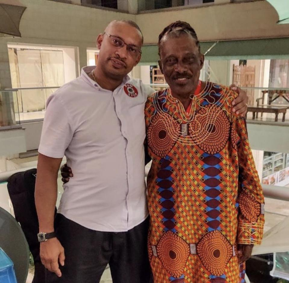 Chef Alfredo of Rum Stop with legendary Barbadian calypsonian and poet The Mighty Gabby, at a Barbados Connect event at Rum Stop.