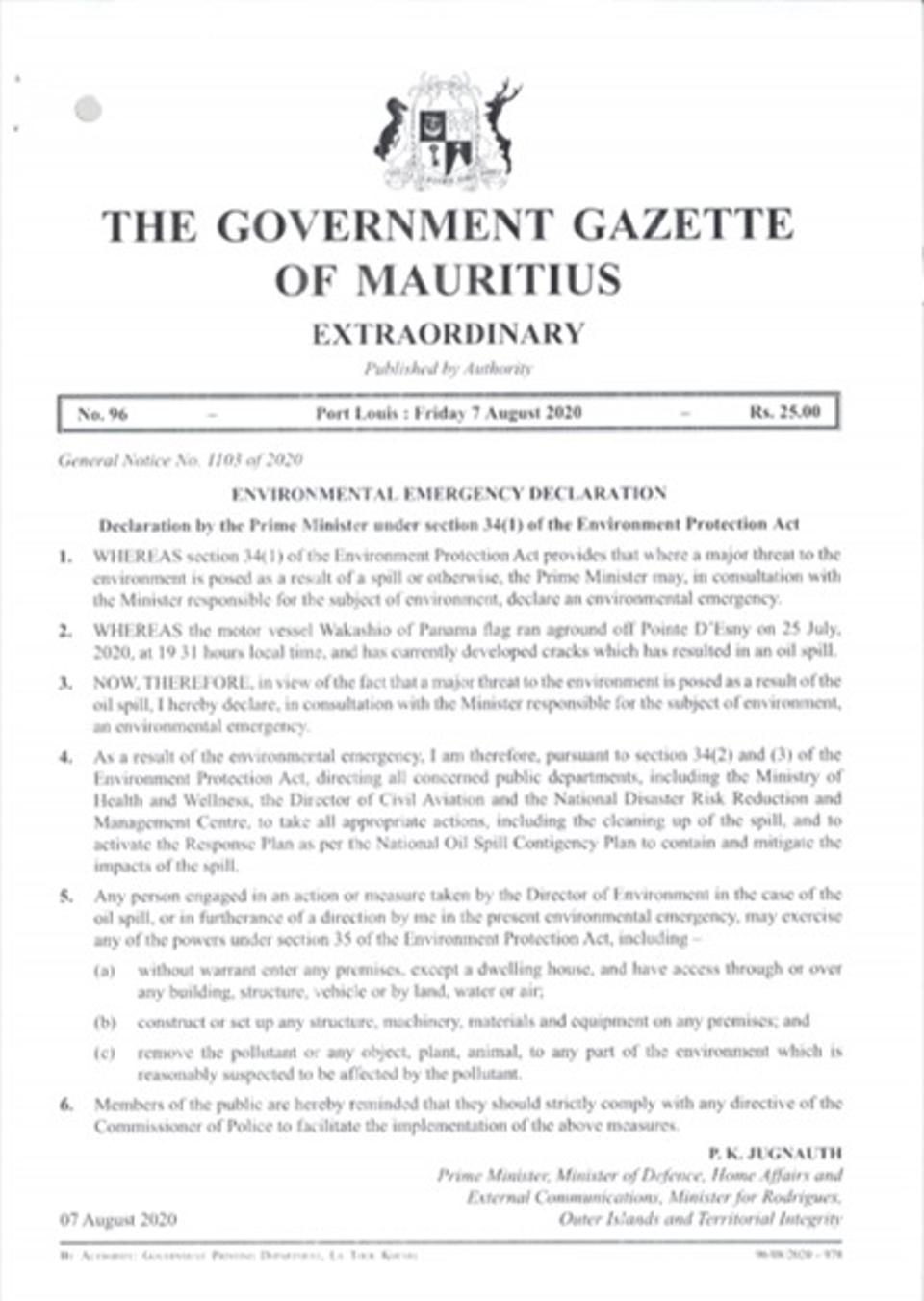 7 Aug: Announcement by Government of Mauritius of the Emergency Declaration