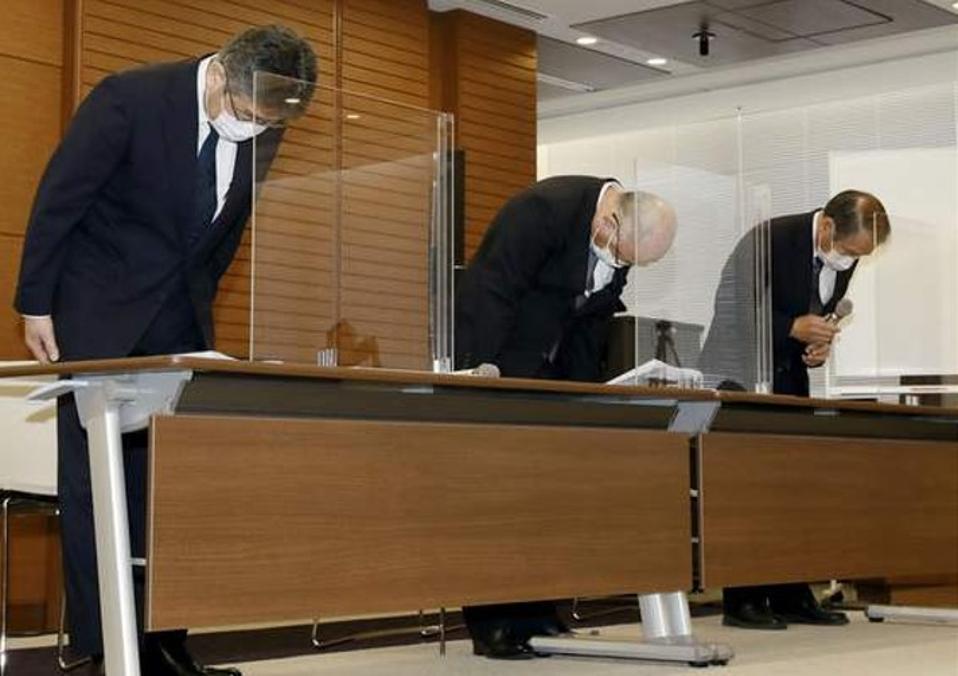 9 Aug: From left, Mitsui O.S.K. Lines, Ltd. Managing Executive Officer Masanori Kato, Mitsui O.S.K.Lines, Ltd. Representative Director Akihiko Ono, and Nagashiki Shipping CEO Kiyoaki Nagashiki bow during a press conference in Tokyo concerning the Wakashio.