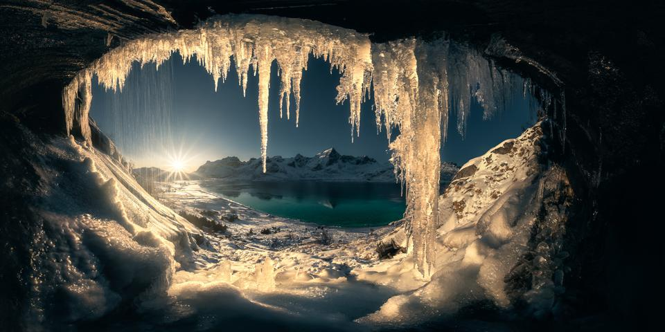 ice cave and ocean