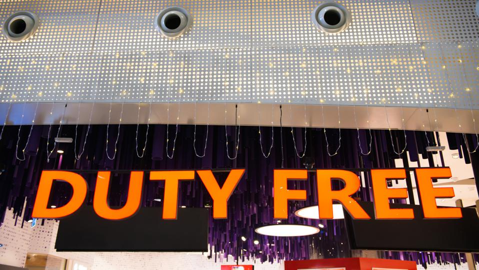 Illuminated duty free sign in airport.
