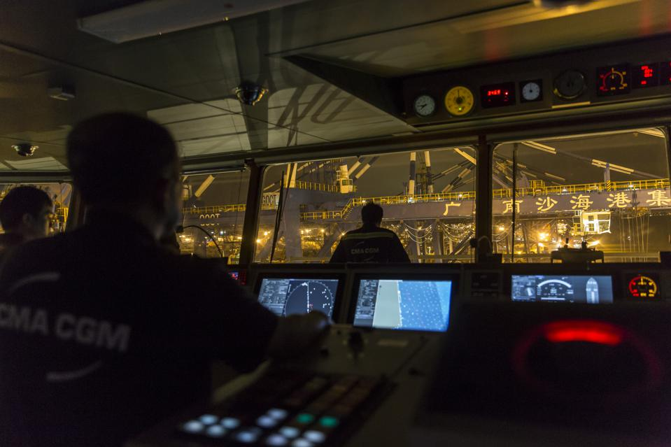 ECDIS and Radar system being used by the crew on the world's largest container ship, CMA CGM's Benjamin Franklin as it pulls out of Guangzhou Port, China.
