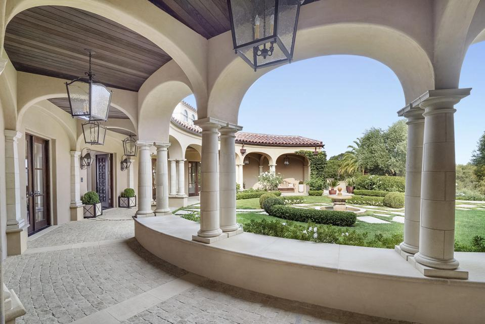 Gated residence with columns in California