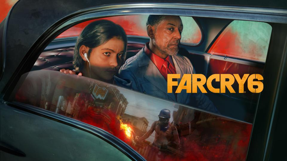 Far Cry 6, showing the two main antagonists, Anton and Diego Castillo, in a car.