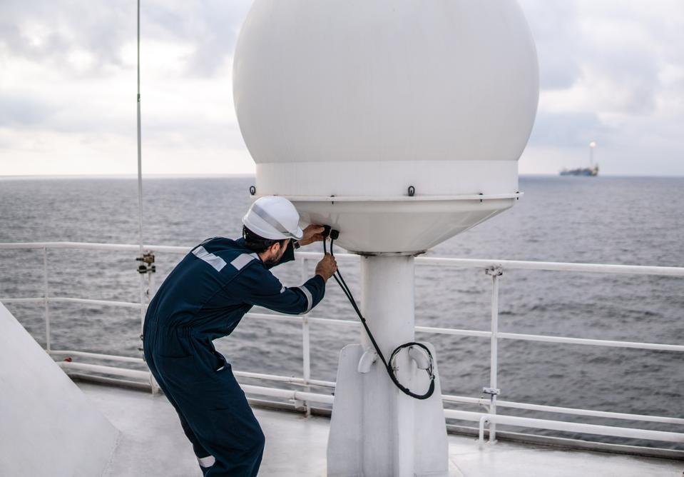 Ships often have several satellite internet connection, such as VSAT, Inmarsat and other providers.