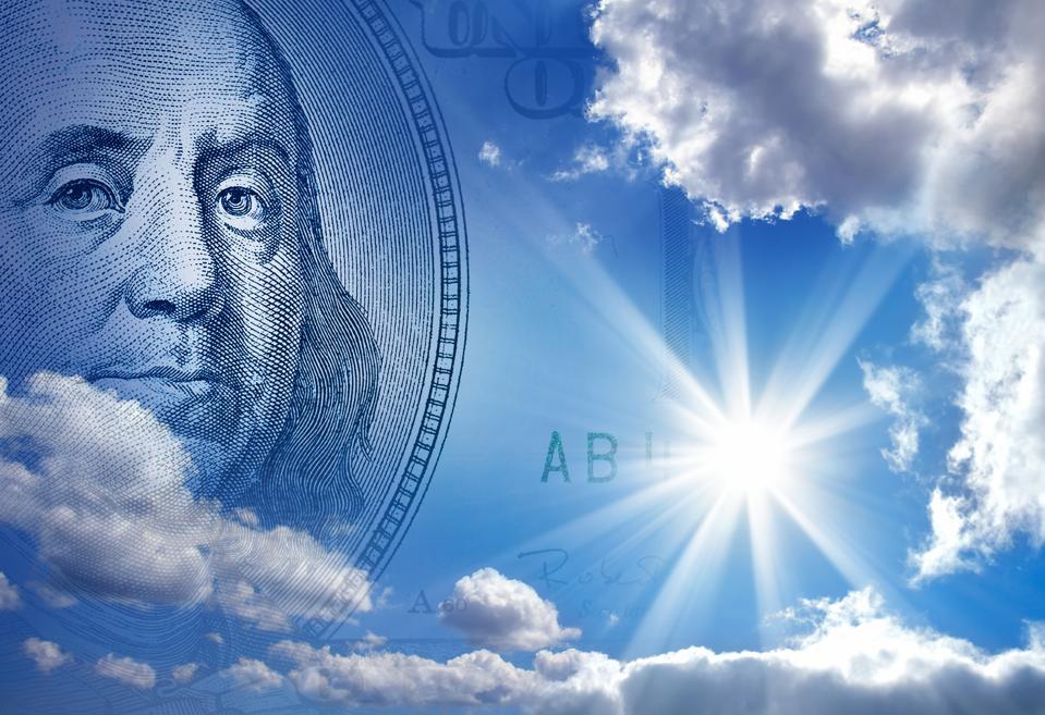 money in blue sky