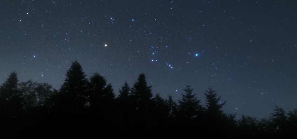 The constellation Orion: left of Orion''s Belt is red Betelgeuse with Bellatrix above while on the right is bright Rigel (top) and Saiph (bottom). The Orion Nebula o