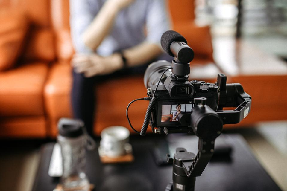 Professional camera filming a video podcast