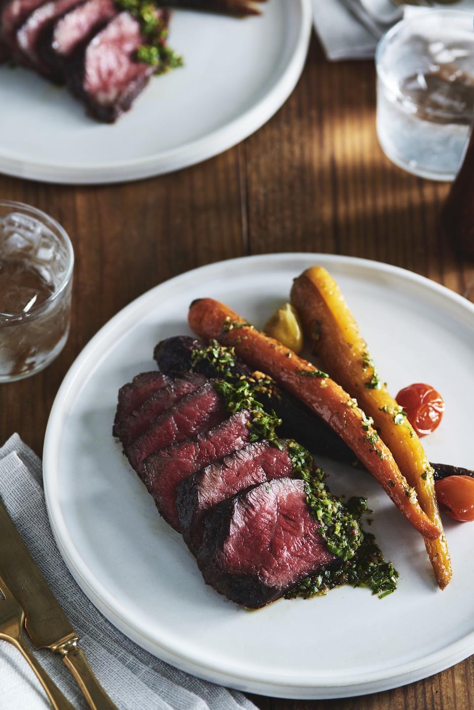 Black Hawk Farms Denver steak topped with chimichurri sauce