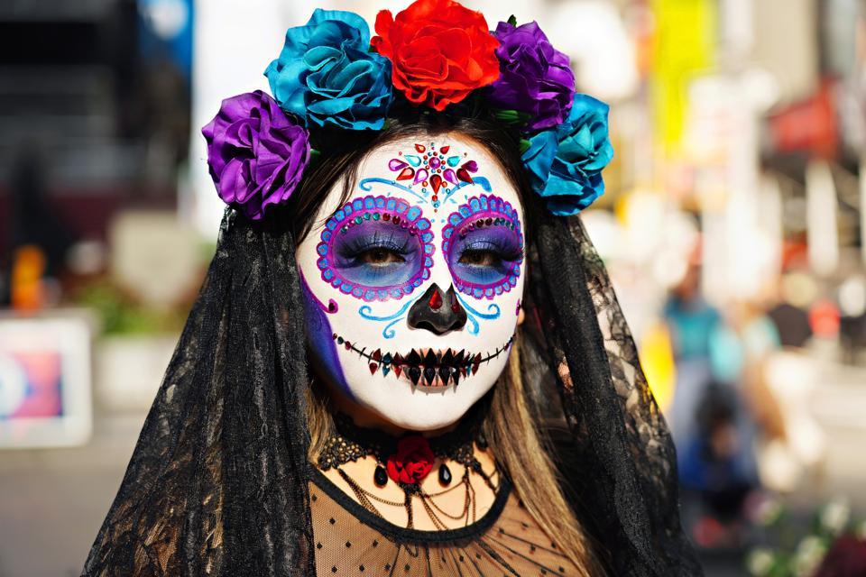 New York City Area Celebrates Halloween 2020: A woman wears a Day of the Dead (Dia de los Muertos) costume