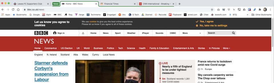 Chrome browser with expanded tab group