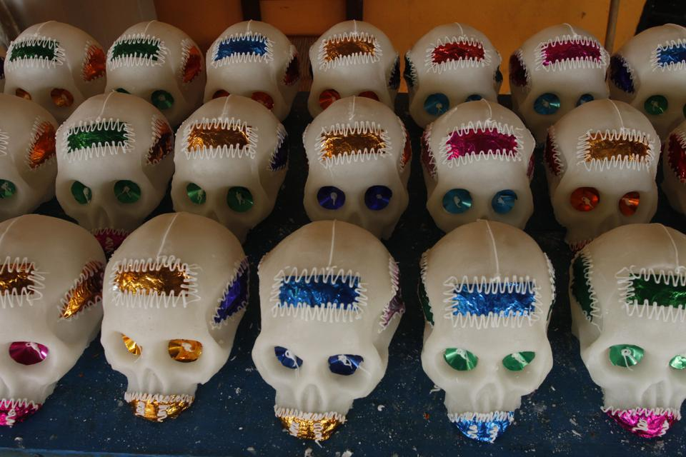 Production Of Sugar Skulls To Celebrate Day Of The Dead